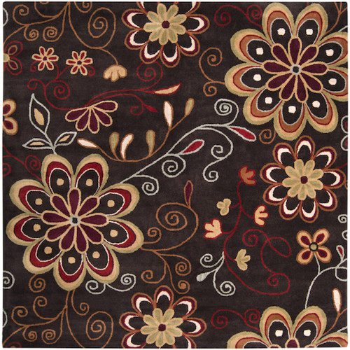 9.75' x 9.75' Brown and Beige Square Wool Area Throw Rug - IMAGE 1