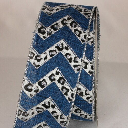 "Denim Blue and Black Cheetah Design Wired Craft Ribbon 2.5"" x 20 Yards - IMAGE 1"