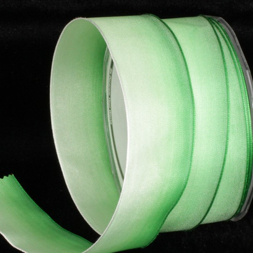 """Mint Green and White Ombre Wired Craft Ribbon 1.5"""" x 54 Yards - IMAGE 1"""