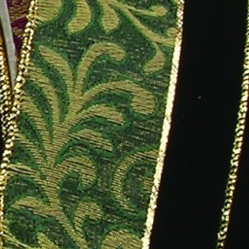 """Green and Gold Leaf Motif Wired Craft Ribbon 2.5"""" x 20 Yards - IMAGE 1"""