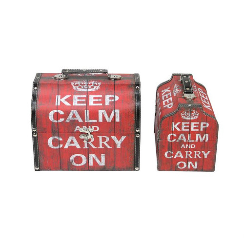 """Set of 2 Red and White Keep Calm and Carry On Decorative Wooden Storage Boxes 10.25-11.75"""" - IMAGE 1"""