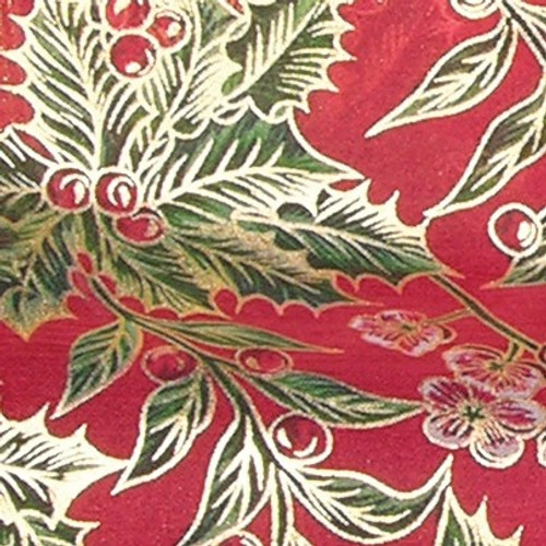"""Red and Green Mistletoe Wired Craft Ribbon 4"""" x 20 Yards - IMAGE 1"""
