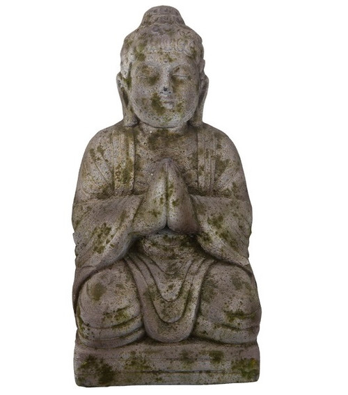 """19.5"""" Antique Gray-Brown and Green Praying Buddha Statue - IMAGE 1"""