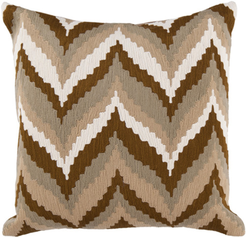 """18"""" Beige and Brown Chevron Square Throw Pillow - IMAGE 1"""