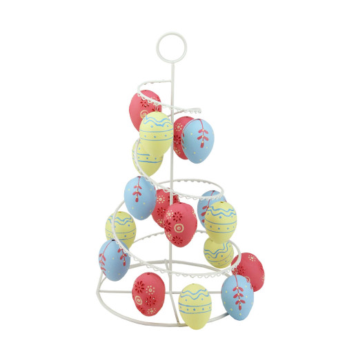 """14.25"""" White and Pink Floral Cut Out Easter Egg Tree Tabletop Decor - IMAGE 1"""