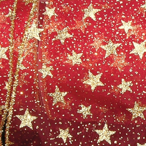 """Sheer Metallic Red and Gold Glitter Stars Wired Craft Ribbon 3"""" x 20 Yards - IMAGE 1"""
