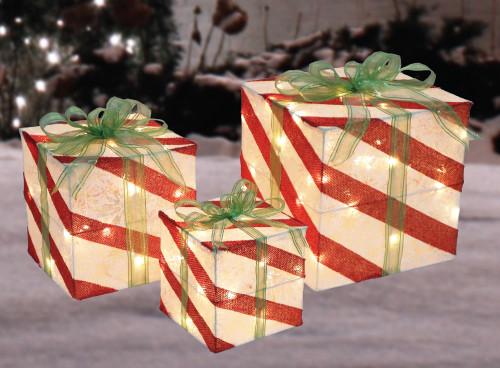 Set of 3 Lighted Natural Rattan & Glitter Gift Boxes ...