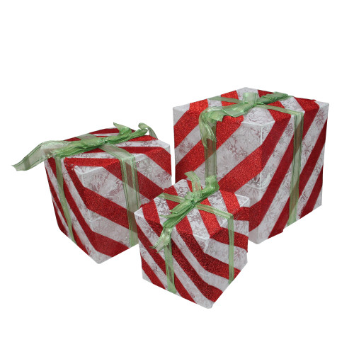 Set of 3 Lighted White and Red Striped Gift Box Outdoor Christmas Decorations - IMAGE 1