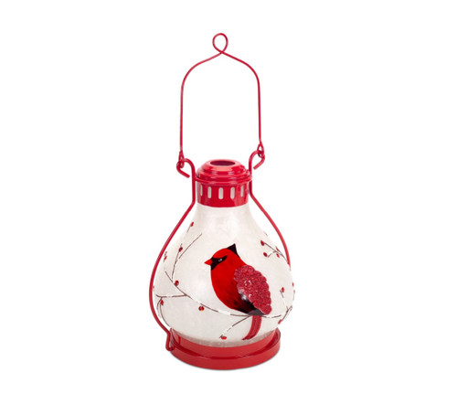 """17"""" Pre-Lit Red and White Battery Operated LED Cardinal Lantern with Timer - IMAGE 1"""