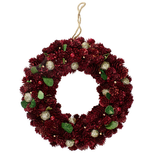 Red Pine Cone and Berry Artificial Christmas Wreath - 12-Inch, Unlit - IMAGE 1