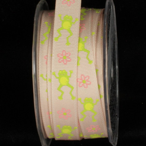 """Ivory and Green Frog Wired Craft Ribbon 0.5"""" x 54 Yards - IMAGE 1"""