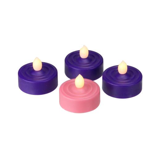 Set of 4 LED Lighted Christmas Purple and Pink Tea Light Candles - IMAGE 1