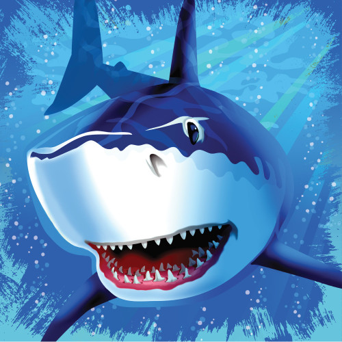 "Club Pack of 192 Blue Shark Splash Disposable Lunch Napkins 6.5"" - IMAGE 1"