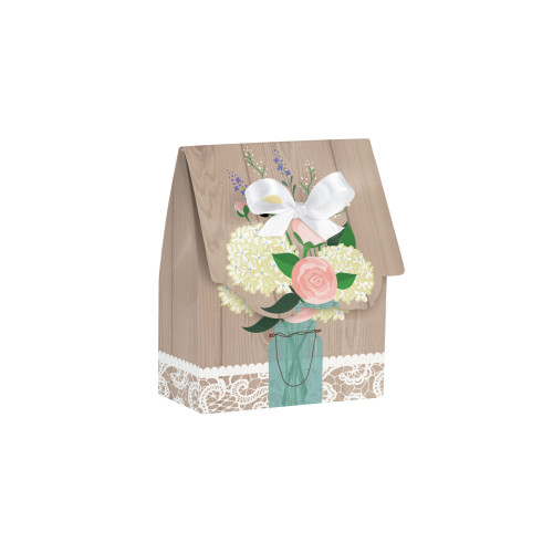 """Club Pack of 72 Brown and White Country Rustic Wedding Party Favor Treat Bags with White Bows 4.5"""" - IMAGE 1"""