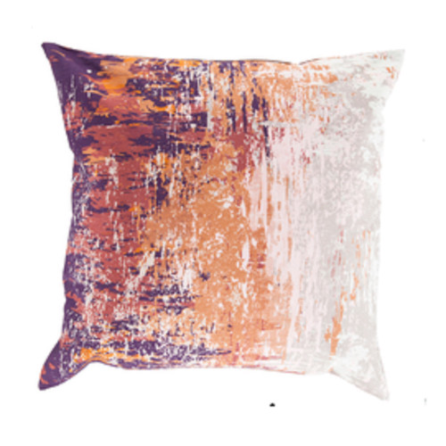 """22"""" Brown, Orange and White Decorative Throw Pillow - Down Filler - IMAGE 1"""