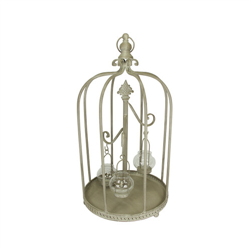 "26"" Vintage Rose Antique-Style Distressed Gray-Washed Taupe Metal Birdcage Tea Light Candle Holder - IMAGE 1"