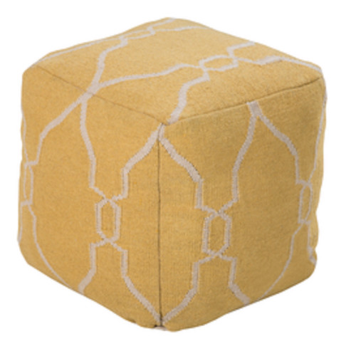 """18"""" Honey Yellow and Beige Static Circles Square Wool Pouf Ottoman - IMAGE 1"""