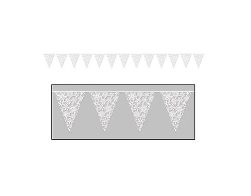 Club Pack of 12 White Snowflake Pennant Christmas Banners 2' - IMAGE 1