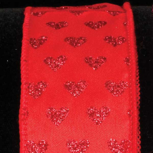 """Red Sparkling Hearts Romantic Wired Craft Ribbon 1.5"""" x 40 Yards - IMAGE 1"""