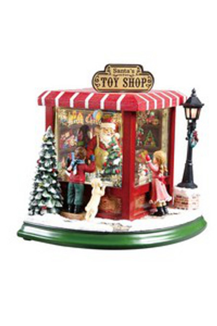 "Set of 2 Red and Green Animated Musical Santa Toy Shop Christmas Figurines 8.5"" - IMAGE 1"