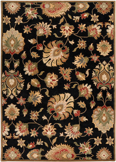 9' x 12' Black and Brown Contemporary Hand Tufted Floral Rectangular Wool Area Throw Rug - IMAGE 1