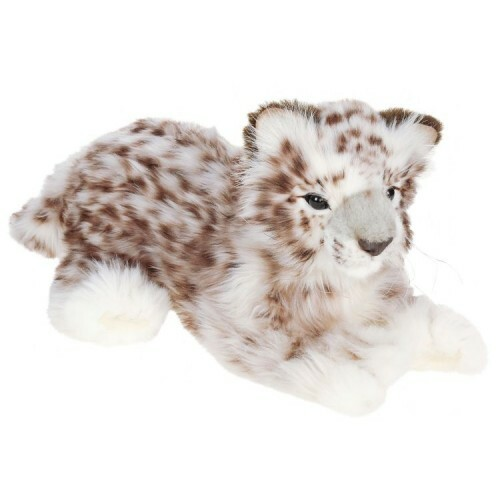 """Set of 2 White and Brown Handcrafted Soft Plush Laying Snow Leopards 13.25"""" - IMAGE 1"""