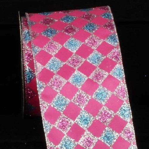 "Pink and Blue Glitter Harlequin Wired Craft Ribbon 4"" x 20 Yards - IMAGE 1"