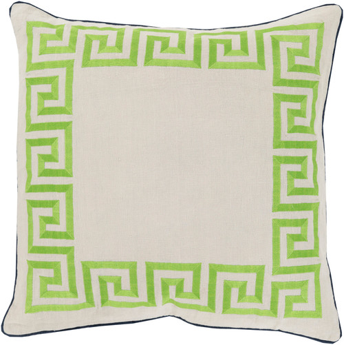 "22"" Green and White Wavy Bordered Square Throw Pillow - Down Filler - IMAGE 1"
