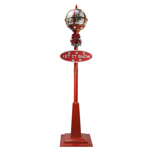 "69"" Lighted Red and Gold Musical Snowing Christmas Tree Round Street Lamp - IMAGE 1"