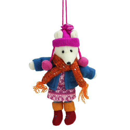 "6.25"" Bohemian Holiday Plush Polar Bear Girl with Dangling Legs Christmas Ornament - IMAGE 1"