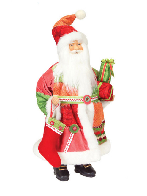 "20"" Red and White Patchwork Santa Claus Christmas Tabletop Figure - IMAGE 1"