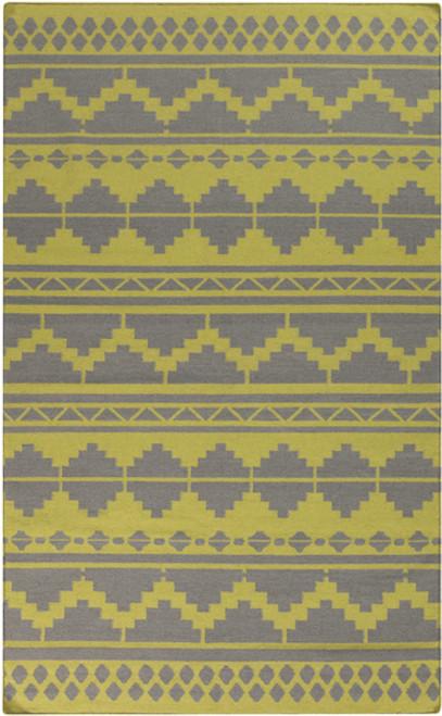 2' x 3' Bohemian Lime Green and Gray Hand Woven Rectangular Wool Area Throw Rug - IMAGE 1