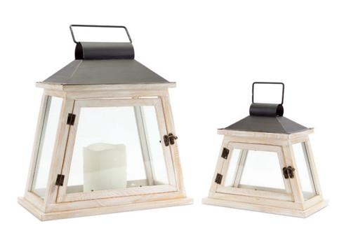 Set of 2 Cottage-Style Distressed White and Black Pillar Candle Lanterns - IMAGE 1
