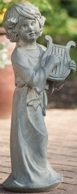 """27.5"""" Gray Child Playing Lyre Outdoor Patio Garden Statue - IMAGE 1"""