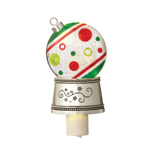 "7"" White and Red Christmas Traditions Shimmer Dots Ornament Christmas Night Light - IMAGE 1"