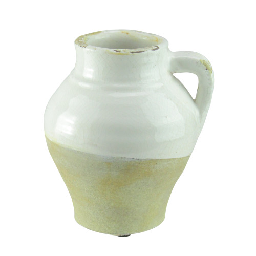 """6"""" French Countryside White Two-Toned Crackle Finish Table Top Jug Decoration - IMAGE 1"""