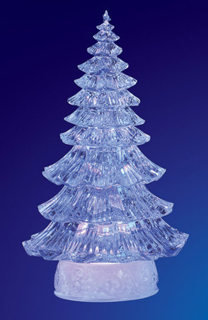 """Pack of 2 Icy Crystal Illuminated Traditional Christmas Tree Figures 12"""" - IMAGE 1"""
