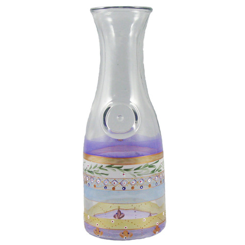 "11"" Clear and Purple Mosaic Garland with Stripes Hand Painted Glass Serving Carafe - IMAGE 1"