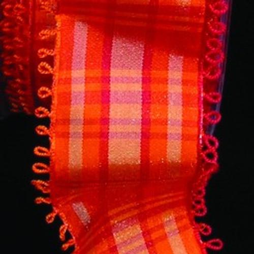"Orange and Red Tartan Plaid Pico Edged Wired Craft Ribbon 1.5"" x 27 Yards - IMAGE 1"