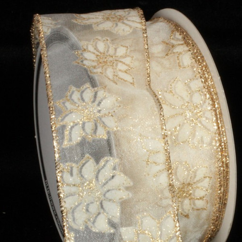 """Sheer Gold and White Little Poinsettia Wired Craft Ribbon 2"""" x 40 Yards - IMAGE 1"""