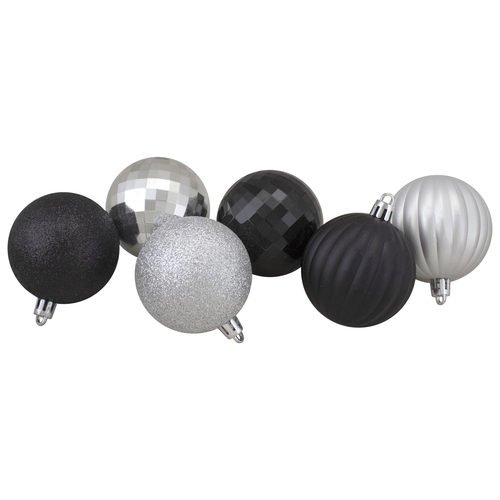 "100ct Silver and Black Shatterproof 3-Finish Christmas Ball Ornaments 2.5"" (60mm) - IMAGE 1"