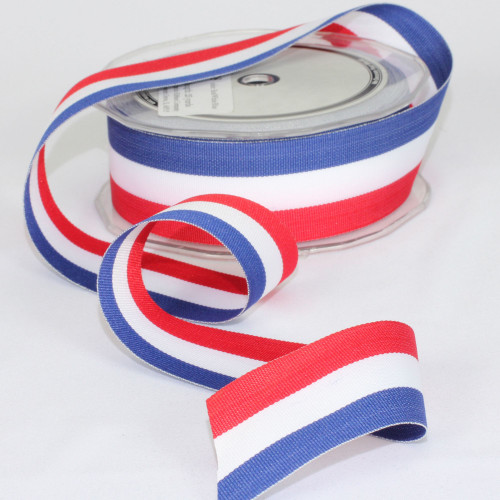 """Vibrant Red and Blue Patriotic Grosgrain Craft Ribbon 1.5"""" x 50 Yards - IMAGE 1"""