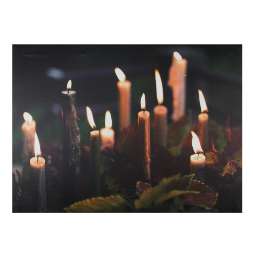"""LED Lighted Flickering Candles with Fall Leaves Canvas Wall Art 11.75"""" x 15.75"""" - IMAGE 1"""