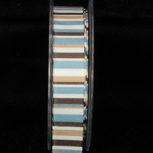 "Blue and Brown Striped Wired Craft Ribbon 1"" x 54 Yards - IMAGE 1"