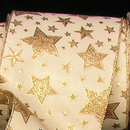 """Ivory and Gold Star Print Wired Craft Ribbon 5"""" x 20 Yards - IMAGE 1"""