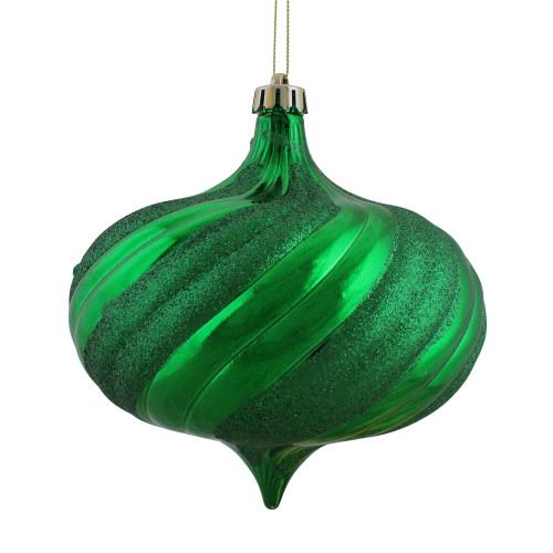 "4ct Shiny Green Shatterproof Onion Drop Christmas Ornaments 5.75"" (150mm) - IMAGE 1"