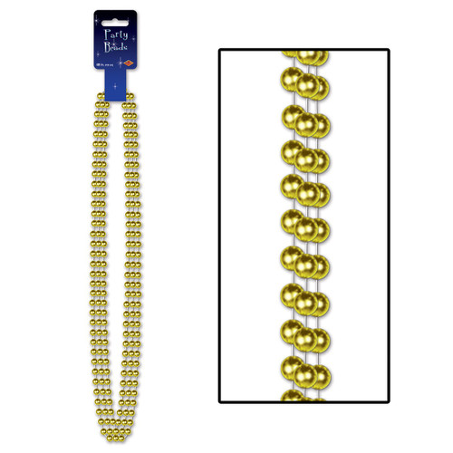 """Club Pack of 12 Gold Large Round Party Favors Beaded Necklace 48"""" - IMAGE 1"""