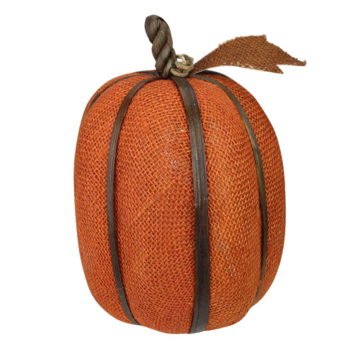 "12"" Burnt Orange Pumpkin with Bamboo Thanksgiving Decor - IMAGE 1"