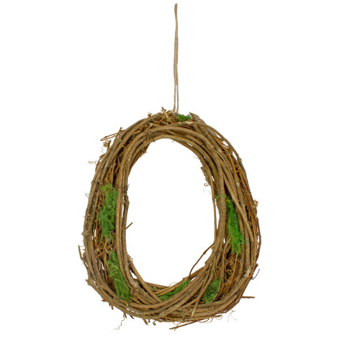 Grapevine, Twig and Moss Egg-Shaped Artificial Spring Wreath, 11-Inch - IMAGE 1
