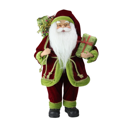 """16"""" Red and Green Standing Santa Claus with Gift Bag Christmas Figurine - IMAGE 1"""